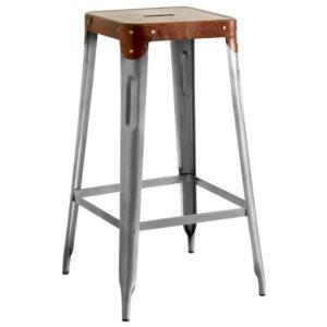 Barová židle IRON železo almond/hnědý kožený potah