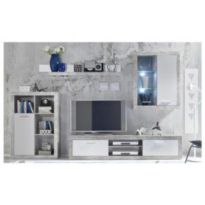 Obývací stěna SHARK beton/bílá