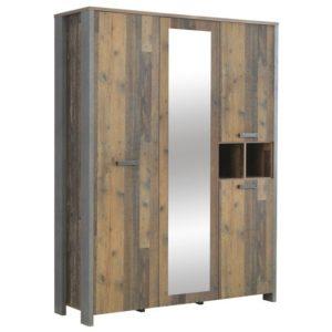 Šatní skříň CLIF staré dřevo/beton