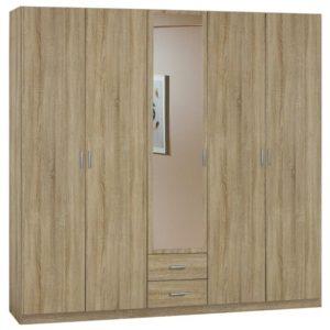 Šatní skříň LEMGO dub sonoma/zrcadlo