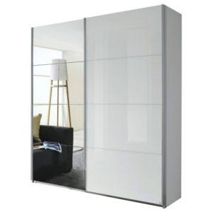 Šatní skříň QUADRA 226 bílá vysoký lesk/zrcadlo
