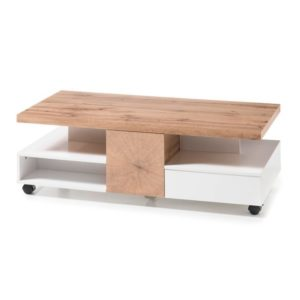 Konferenční stolek CREVIN dub/bílá matná