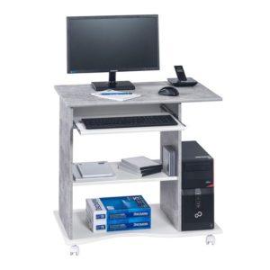 PC stůl CASH bílá/beton