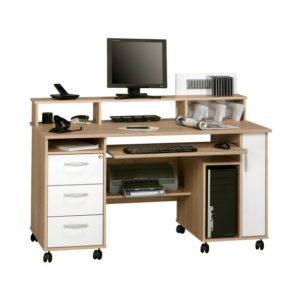PC stůl MIKKO dub sonoma/bílá