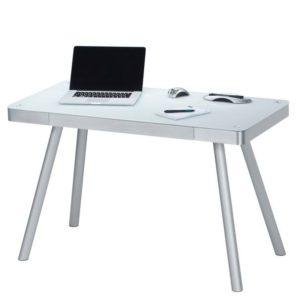 Počítačový stůl MAXWELL kov/bílé sklo