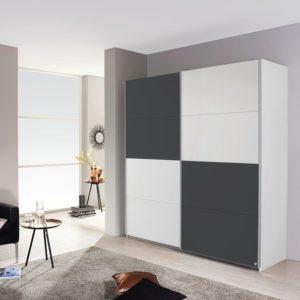 Šatní skříň MARONI alpská bílá/šedá metalic