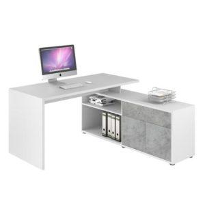 Rohový psací stůl ARLO bílá/šedá