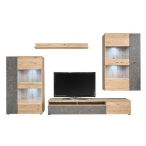 Obývací stěna TREND dub artisan/šedá