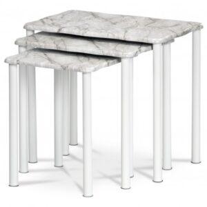 Přístavné stolky CARRARA bílá/dekor mramoru