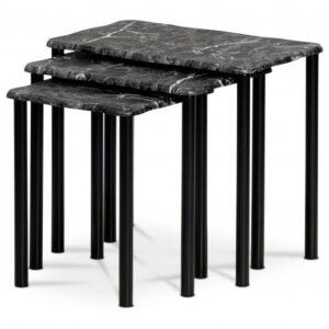 Přístavné stolky CARRARA černá/dekor mramoru