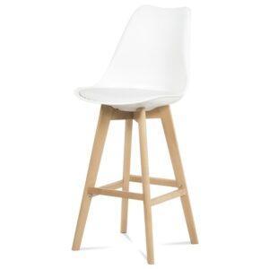 Barová židle JULIETTE bílá/buk