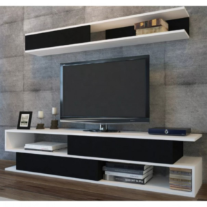 TV stěna SIMS bílá/černá