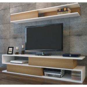 TV stěna SIMS teak/bílá