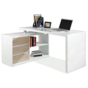 Rohový psací stůl LUKAS bílá/dub sanremo