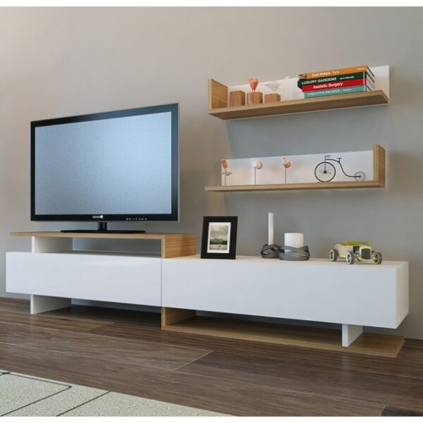 TV stěna AYAZ teak/bílá